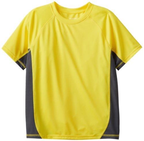 Kanu Surf Big Boys' Short Sleeve UPF 50+ Rashguard Swim Shirt, CB Yellow, Small (8)