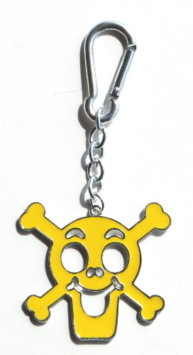 Yellow Skull and Crossbones Bag Clip Charm, Key Chain/Ring, Great Gift!