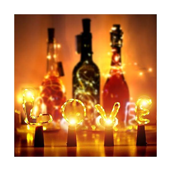 Luce Calda Decorative per Festa 2M 20LED Rame Filo Stringa Stellato Luci Natale e Nuovo Anno Luci per Bottiglia AMZJUPWM 12 Pezzi