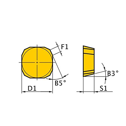 Mitsubishi Materials SPKN53EDR UP20M Coated Carbide Milling Insert 0.187 Thick Class M Chamfer Honing Square Pack of 10 0.625 Inscribed Circle