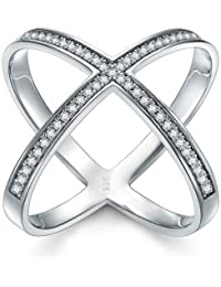 925 Sterling Silver Ring, Boruo Cubic Zirconia CZ Criss Cross Ring Size 4-12