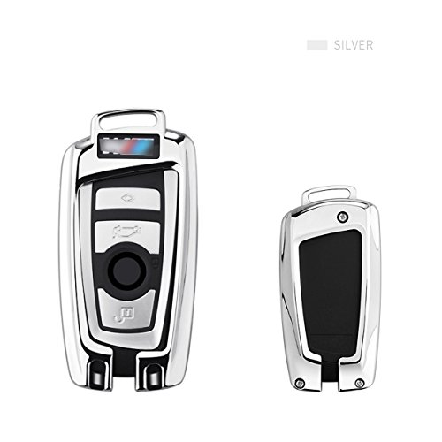 MODIPIM Keyless Entry Remote Key Cover Zinc Alloy Fob Holder Shell with Key Chain for BMW 1-Series 2-Series 3-Series 5-Series 7-Series 525 320li X3 X4 3/4-Buttons Smart Key Color Silver ()