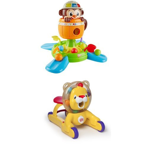 Bright Starts Hide N Spin Monkey and 3-in-1 Step 'n Ride Lion Bundle