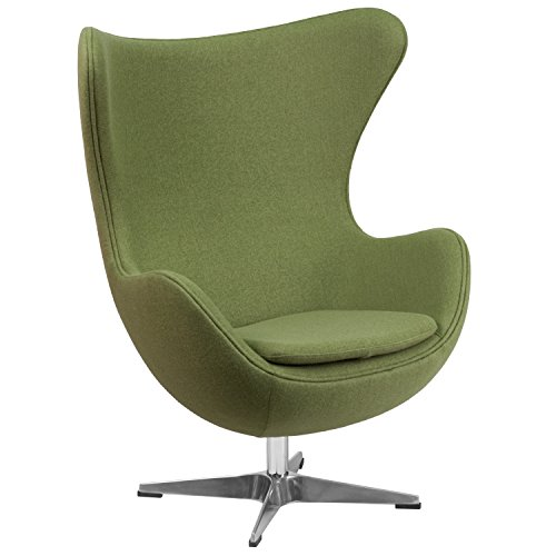Flash Furniture Grass Green Wool Fabric Egg Chair with Tilt-Lock Mechanism