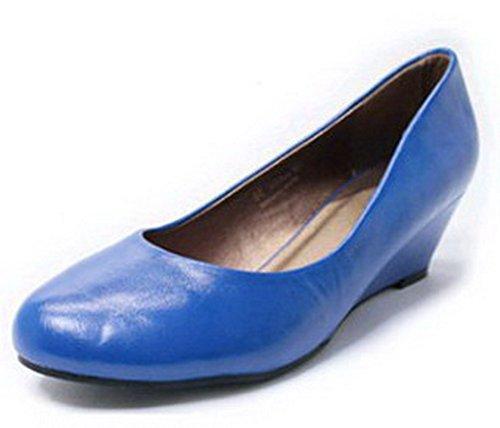 AalarDom Mujer Sin cordones Puntera Redonda Tacón Medio Pu Sólido De salón Azul