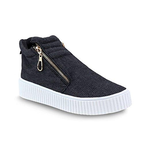 Olivia Miller Islip Dettagliate Sneakers Zip Trapunto Laterali Nere