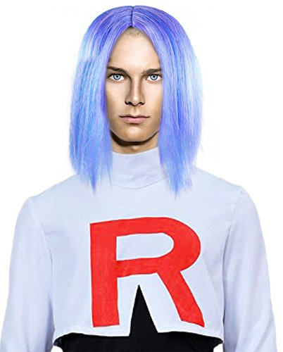 Periwinkle Blue Anime Hairpiece Wig for Men Cosplay Costume Party ()