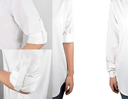 Longue Blouse Poche Blanc Femme V Cindeyar Mini Mousseline Chemise Tunique Robe Col Manches Lache Haut qfc676Tzty