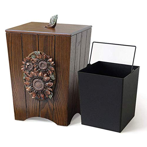 MWPO Indoor Dustbins Solid Wood Hand-Carved Trash Can, with Removable Detachable Inner Barrel Large Trash Can, European American Home Storage Bucket (Color : B)