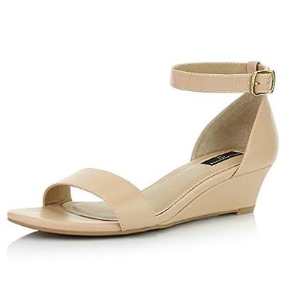 DailyShoes Women's Wedge Open Toe Strap Chunky Heel Sandal Fashion Shoes