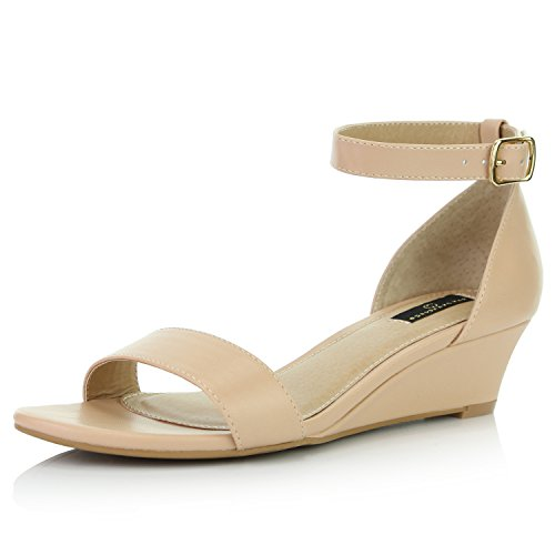 DailyShoes Women's Wedge Open Toe Strap Chunky Heel Sandal Fashion Shoes, Beige PU, 9 B(M) US