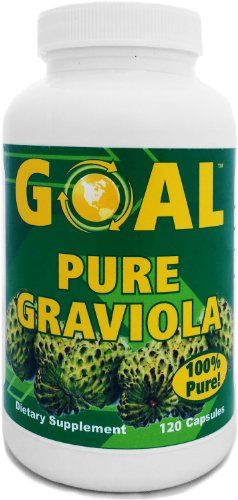 GOAL Pure Graviola Capsules - 1000mg Graviola Plant Leaf and Stem - The Rainforests Powerful Immune System Booster 120 Caps