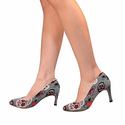 InterestPrint Womens Classic Fashion High Heel Dress Pump Dia De Los Muertos, Day of The Dead, Pattern