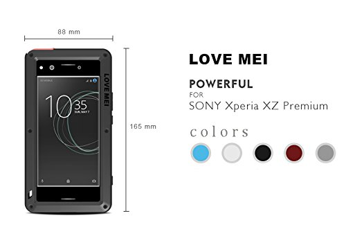 huge selection of 996a2 47a8b LOVE MEI Waterproof Case for Sony Xperia XZ Premium (5.5inch), Heavy Duty  Shockproof Waterproof Dust/Dirt/Snow Proof Aluminum Metal Tempered Screen  ...