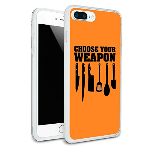 Choose Your Weapon Chef Baker Kitchen Tools Knife Spatula Protective Slim Fit Hybrid Rubber Bumper Case Fits Apple iPhone 8 Plus
