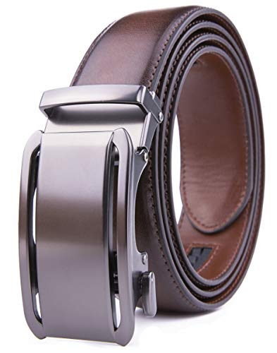 Men's Genuine Leather Ratchet Dress Belt with Automatic Buckle, Adjustiable Sizes, Handmade, All leather Strap (44/46, Brown 2078)