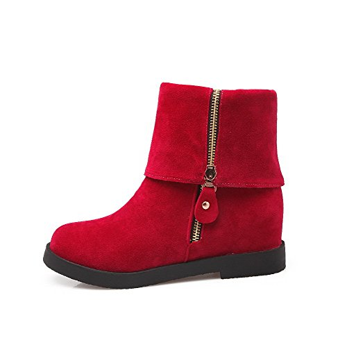 AllhqFashion Mujeres Puntera Redonda Sólido Caña Baja Mini Tacón Botas con Ornamento Metal, Rojo, 36