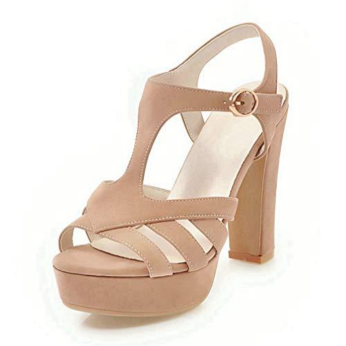 CYBLING Women's Chunky Heeled Sandal Open Toe Ankle Buckle T-Strap Platform Pump Hign Heel Shoes Tan