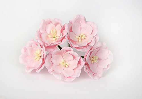 ScrapFlowers 50 Large Paper Magnolias for Scrapbooking, Wedding and Baby Shower Decorations, Favours DIY (Soft Pink)