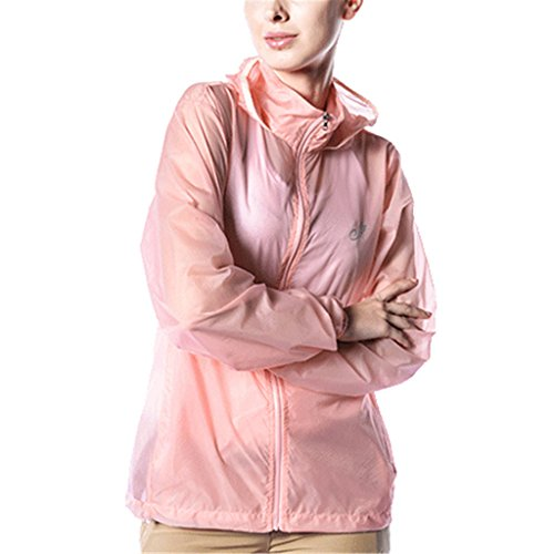 Kuer Unisex Nylon Ultrathin Breathable Waterproof Sports Windbreaker Skin Coat(Pink,S) by Kuer