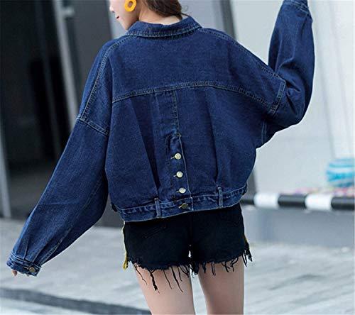 Tasche Donna Casual Single Cappotto Chic Streetwear Elegante Confortevole Swag Blu Bavero Lunga Moda Giacche Manica Anteriori Autunno Giubbino Breasted Jeans Cute Corto BBP4zqr