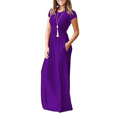 Chilie Women Short Sleeve Maxi Dress With Pockets Plain Loose Swing Casual Floor Length Pure Color Long Dress