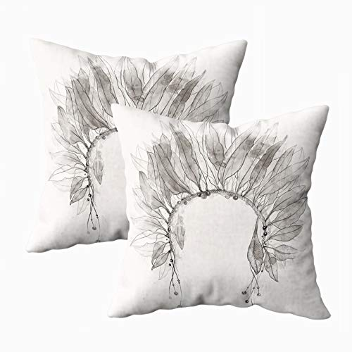 TOMWISH Deco Pillow Covers, 2 Packs Hidden Zippered 18X18Inch Headdress Feathers Beads Digital Mixed Media Artwork Watercolor Texture Decorative Throw Cotton Pillow Case Cushion Cover for Home Decor