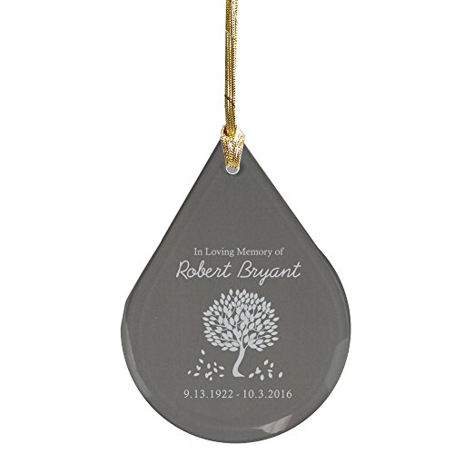 GiftsForYouNow in Loving Memory Tear Drop Personalized Glass Ornament, 2.75