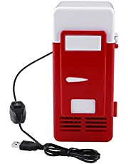LED Mini USB Refrigerator USB Refrigerator Drinks Beverage Cans Refrigerator and Heater New Mini Red USB Fridge Cooler Beverage Drink Cans Cooler/Warmer Refrigerator for Laptop PC Computer(Red)