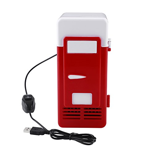 Mini USB Refrigerator Cooler Beverage Drink Cans Refrigerator and Heater for Office Desktop Hotel Home Car (Red)