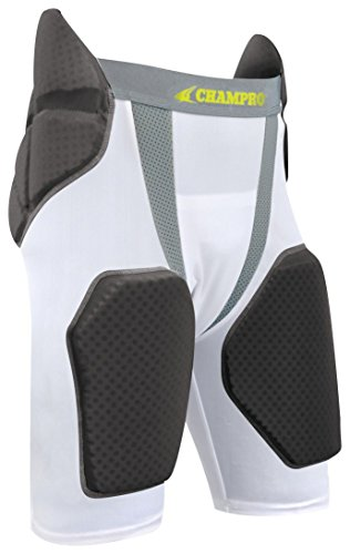 CHAMPRO Adult FPGU6 Tri-Flex 5-Pad Integrated Girdle, White/Grey Inset, XL