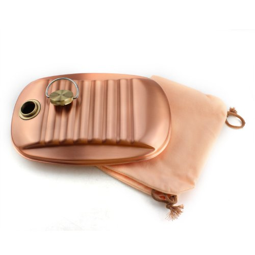 Shinko-do pure copper hot water bottle with bag ( small ) 1.2L S-9395S
