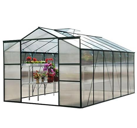 Invernadero de Aluminio 7,75m2 Invernadero 310x250x197cm Puerta Corredera: Amazon.es: Bricolaje y herramientas