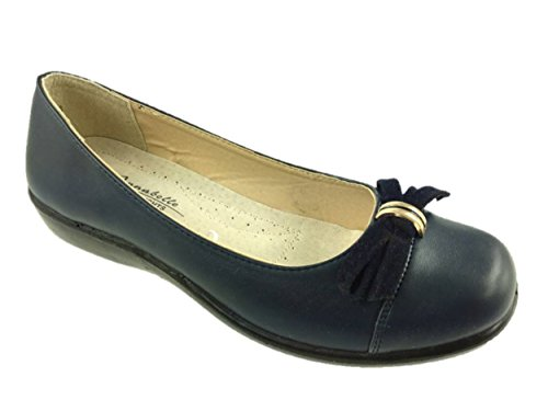 LADIES LIGHTWEIGHT SLIP ON LOW WEDGE COMFORT SHOES BOW DETAIL SIZE 3-8 Navy d4NOv0R