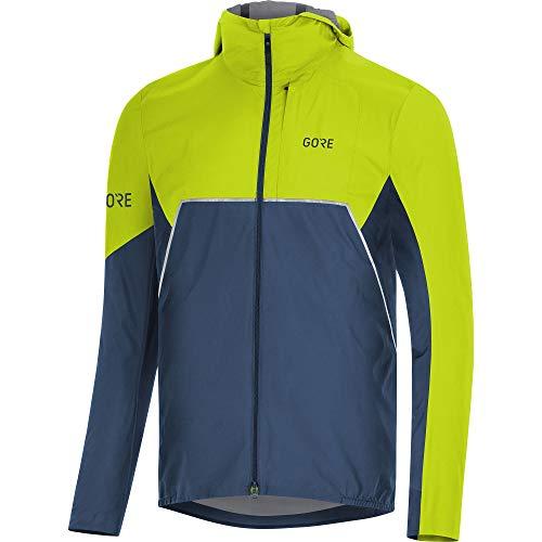 (GORE WEAR R7 Men's Hooded Running Jacket Partial Gore-TEX INFINIUM, L, Dark Blue/Green)