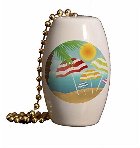 Beach Umbrellas Under Palm Porcelain Fan / Light Pull - Palm Tree Fantasy