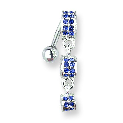 1.6mm body jewelry SGSS Curv BB w Fancy Gem Top Dangle 14G 11mm Length Decreasing Size BCVGNT202-BD