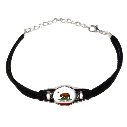 California State Republic Flag - Novelty Suede Leather Metal Bracelet -