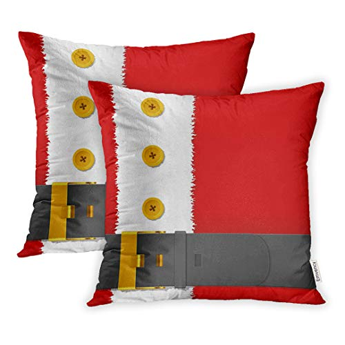 Emvency Set of 2 18x18 Inch Throw Pillow Covers Cases Suit Santa Claus Costume Belt Christmas Magic Merry Jacket Cartoon Case Cover Cushion Two Sided