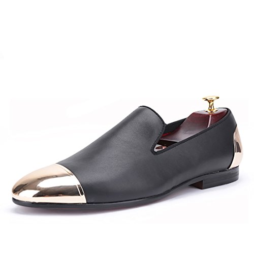 HI&HANN Handmade Loafers Black Genuine Leather Men Shoes With Front and Back Gold Metal Slip-On Smoking Slipper