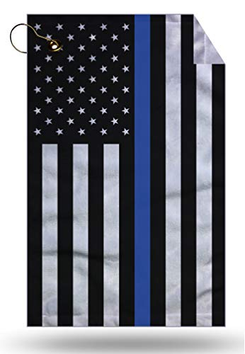 Moonlight Printing Blue Line Police Service Flag Vertical Microfiber Velour 11x18 Golf Bag Towel with Grommet and Clip