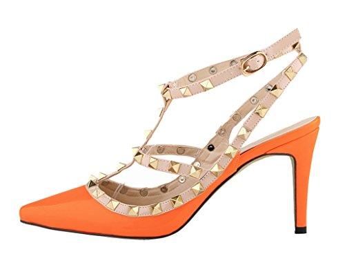 Heel Toe PU Strap Women's Patent Metal Shoes Pointy Orange Sandals Stiletto High Classic Studs w4HwzqS