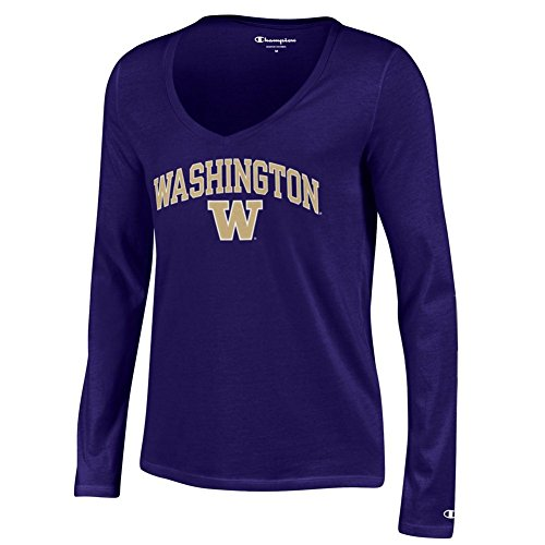 Elite Fan Shop Washington Huskies Womens Vneck Long Sleeve Tshirt Purple Arch - ()