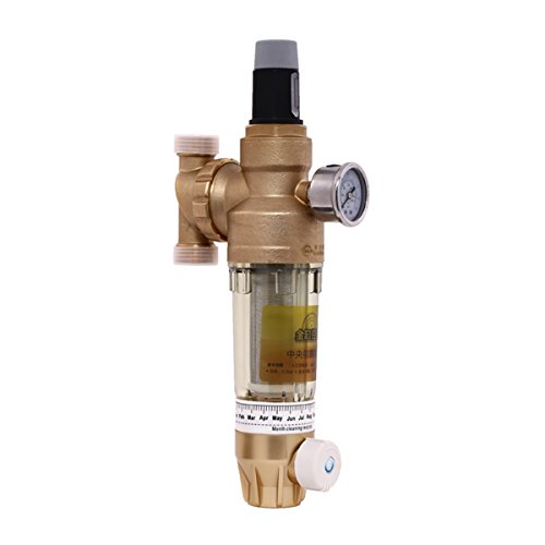 RAOLUNS Previous Brass Water Filter, Universal, With High Range Automatic Pressure Regulator, With 2 Layers Filtration, Color Gold LLS-T4