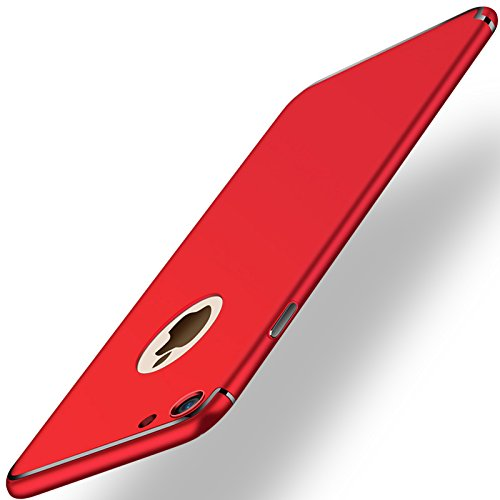 Price comparison product image iPhone 7 Case,  GreenElec [Fit Prefect] [Ultra Thin and Slim] Coated Non Slip Matte Surface Electroplate Frame Hard PC Case for iPhone 7 (Red)