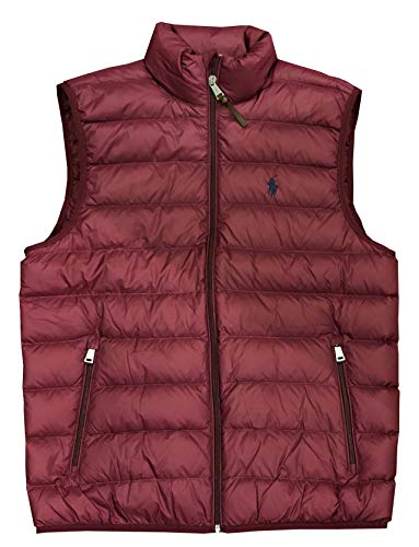 lo Mens Pony Logo Down Puffer Vest (M, Burgundy) ()