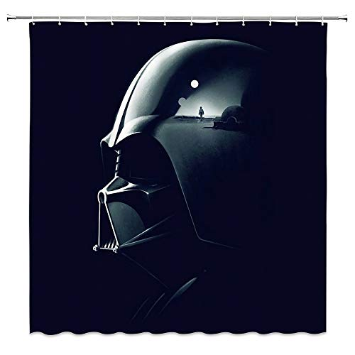 AMNYSF Star Wars Movie Theme Shower Curtain Warrior Darth Vader Armor Decor Black Blue Fabric Bathroom Curtains,Waterproof Polyester with Hooks 70x70 Inch