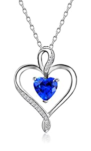 Caperci Mothers Day Gifts Sterling Silver Heart Pendant Necklace Made with Heart Created Gemstone, 18''