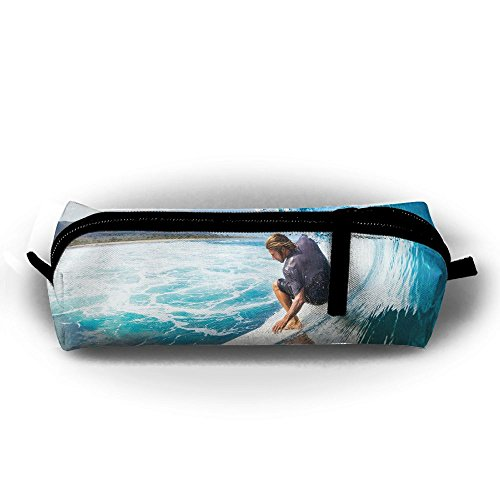 Surfer On Blue Ocean Wave In The Tube Getting Barreled Zipper Pen Bag,Stationery Pouch,Multi-colored Pencil Bag Case Cosmetic - Russian Tube Girl