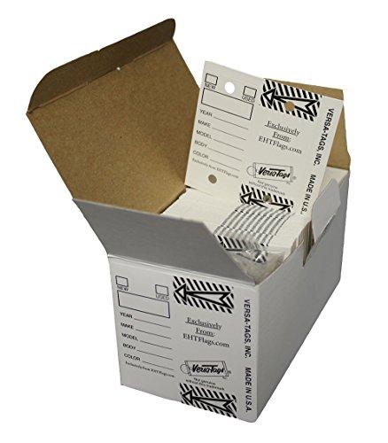 Genuine New Tag - EHT Flags Genuine Versa White Key Tags, Self Protecting 250 Per Box